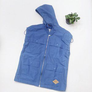WOOLRICH Hooded Vest Blue Waxed Heritage Stag Vest